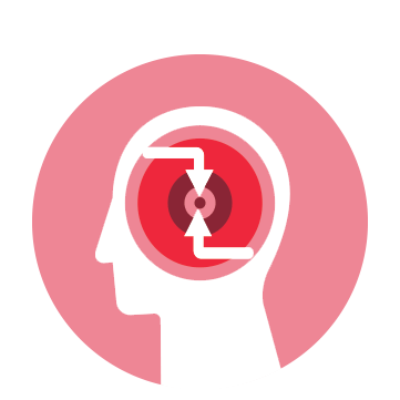 arrows and circle in brain