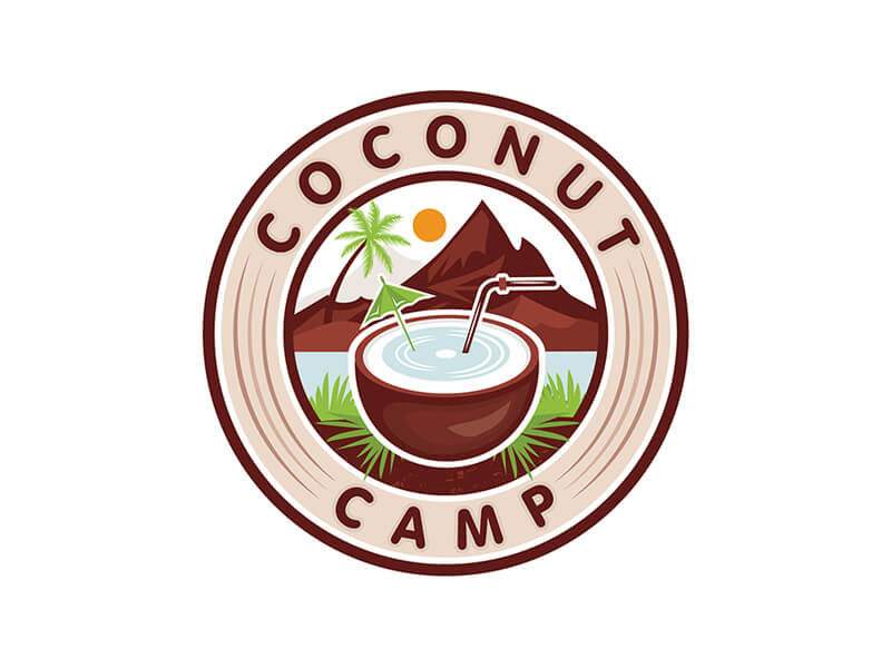 coconut cocktail in circle illustrative logo