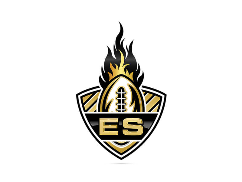 football logo with flames