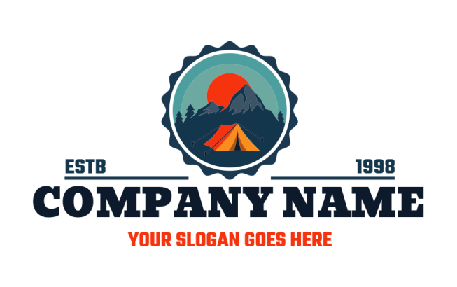 campsite in badge with tent and mountains and sun | Logo ...
