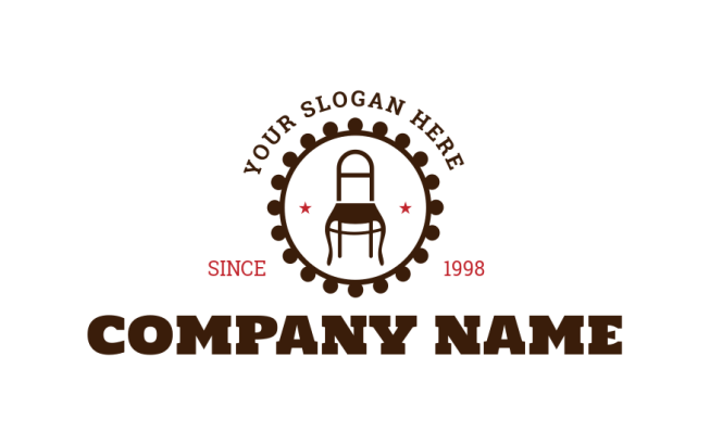 furniture shop symbol of chair in circle | Logo Template ...