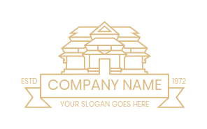 temple in line art with ribbon   Logo Template by
