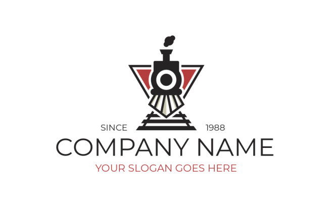 Train Engine On Tracks And Triangle Logo Template By Logodesign Net