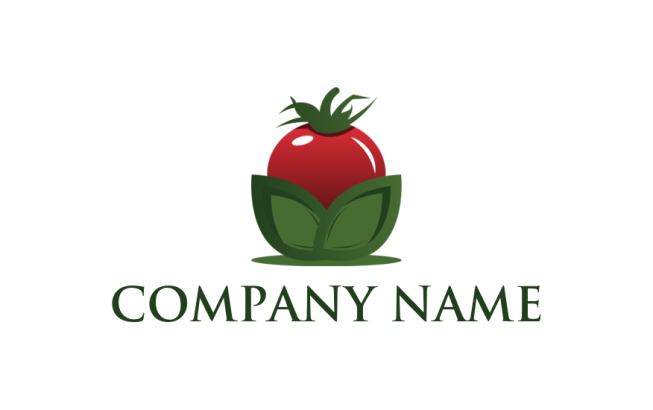 3d tomato with leaves logo template by logodesign net