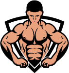 abstract bodybuilder in line art shield