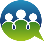 abstract people inside chat symbol
