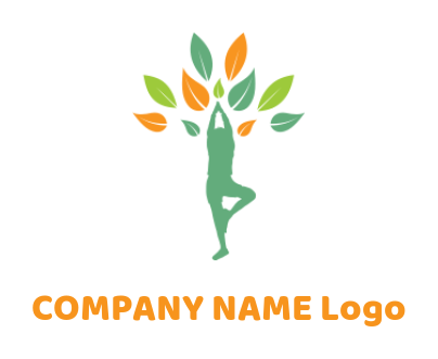 abstract person doing yoga with leaves
