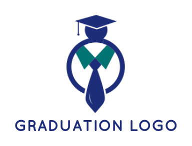abstract person with tie and graduate cap