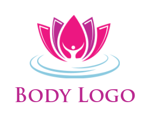 abstract yoga person in lotus flower