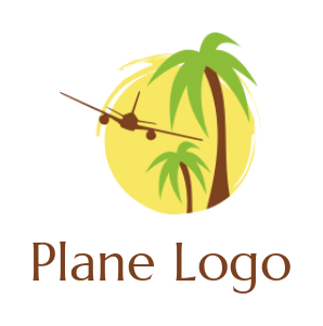 airplane flying over palm trees in circle