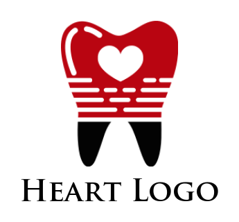 Love symbol inside teeth