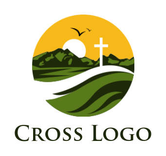 Cross with mountain and grass