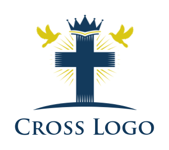 Cross with crown and birds