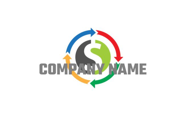 arrows around dollar sign | Logo Template by LogoDesign net