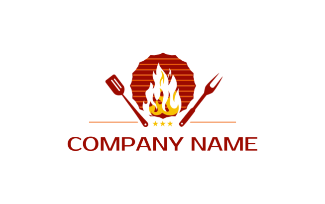 barbecue grill with fork spoon & flame | Logo Template by LogoDesign net