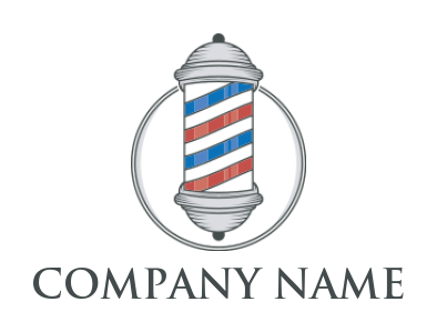 barber pole and circle logo