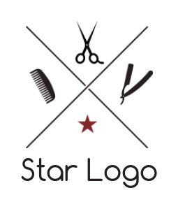 barber tools with star and cross