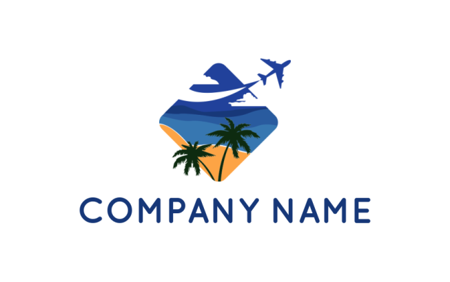 beach with airplane palm tree and yacht | Logo Template by