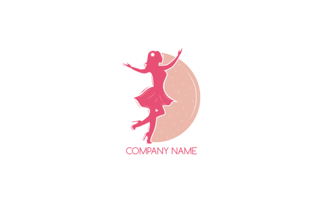 beauty girl in front of half circle logo template by logodesign net