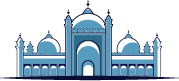 blue illustration of Muslim mosque