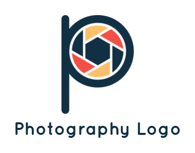Camera shutter merged with letter P