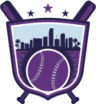city with baseball inside shield emblem