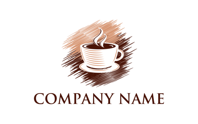 Coffee cup with steam in brush strokes | Logo Template by ...