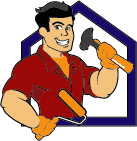 construction worker with hammer and paint brush