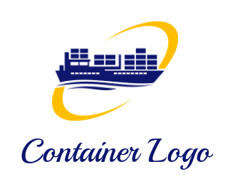 container ship with swoosh