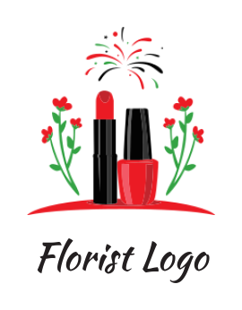 cosmetic products with flowers and fireworks