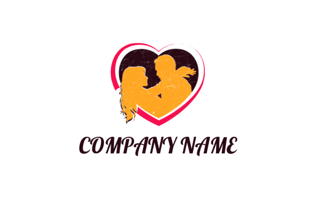Couple Inside Of Abstract Heart Logo Template By Logodesign Net