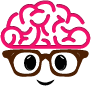 cute brain with glasses
