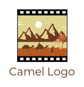 Desert mountains with camels in film reel