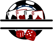 dices and set of aces against gambling chip