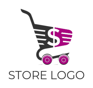 Dollar sign incorporated with shopping cart