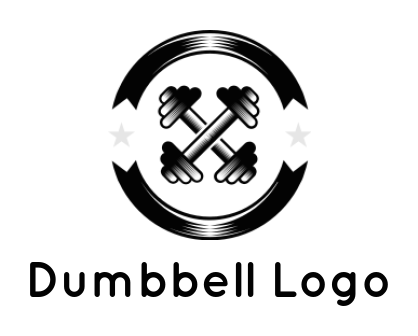 dumbbell cross inside the emblem with stars