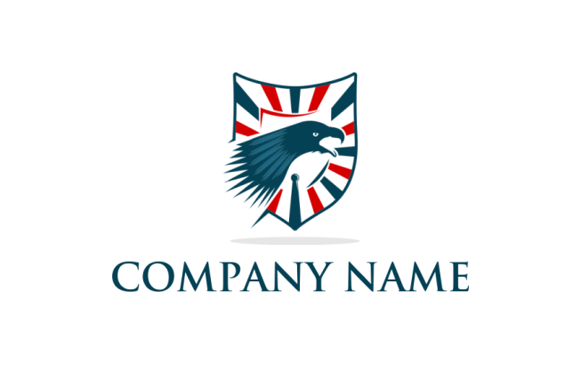 Eagle Head American Flag Stripes In Shield Logo Template By
