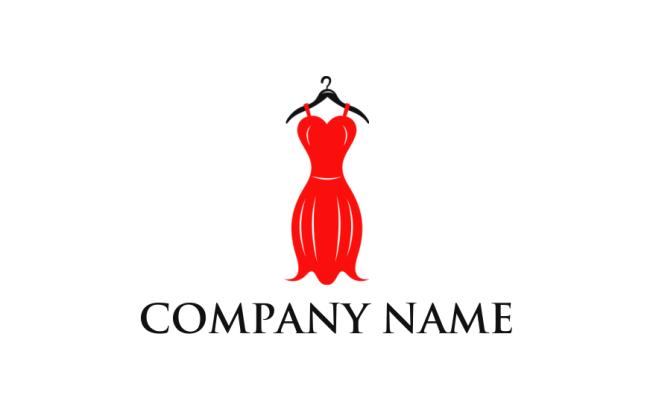 fancy red dress on hanger logo template by logodesign net