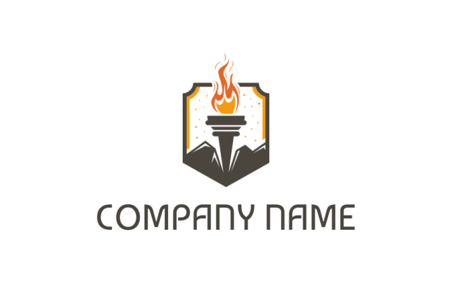 flaming torch in pentagon logo template by logodesign net