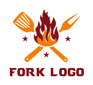 fork & spoon with flame