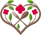 fork and spoon in floral heart shape