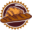 french bread and croissant in badge
