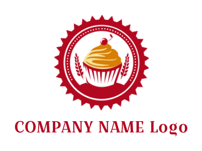 fresh cupcake with wheat straws inside emblem