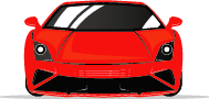 front view of red sports car