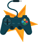 game controller with cord and star background