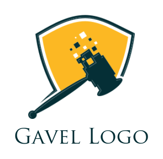 gavel with pixel and shield