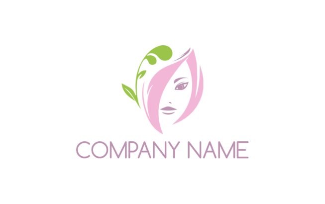 girl face incorporated with leaf logo template by logodesign net