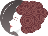 hair salon logo showing woman with curls in up-do