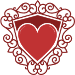 heart inside shield with ornaments