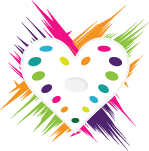 heart shape paint palette in colorful brush strokes